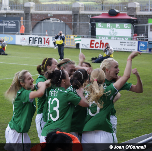 Ireland v Germany. Ireland players celebrate Stephanie Roche's late equalising goal against Germany, 5th April 2014. Image: © Joan O'Connell