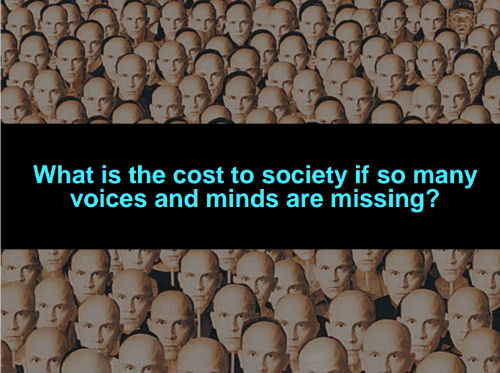 What is the cost to society if so many voices and minds are missing? Image: The OpEd Project-EDUlibs