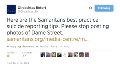 Image: Screengrab: @Oireachtas_RX (Oireachtas Retort) - 11:46 AM, 1st July 2014