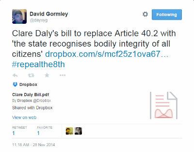 Clare Daly TD proposal tweet 400x313