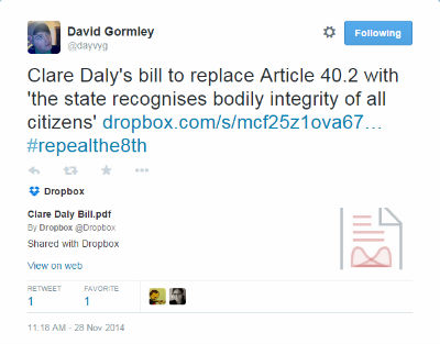 Clare Daly TD proposal tweet 400x313